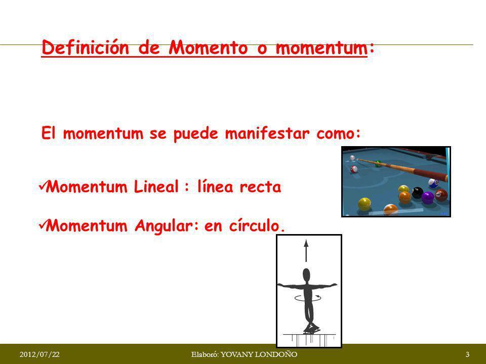 Definición de Momento o momentum: Cantidad de movimiento que presenta un cuerpo. El momentum se puede manifestar como: Momentum Lineal : línea recta M