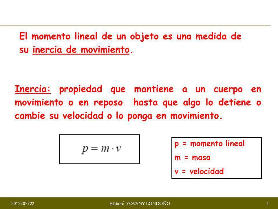 El momento lineal de un objeto es una medida de su inercia de movimiento. Inercia: propiedad que mantiene a un cuerpo en movimiento o en reposo hasta