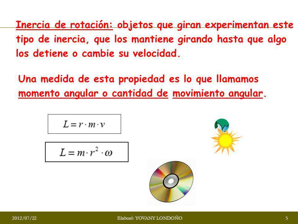 Inercia de rotación: objetos que giran experimentan este tipo de inercia, que los mantiene girando hasta que algo los detiene o cambie su velocidad. U
