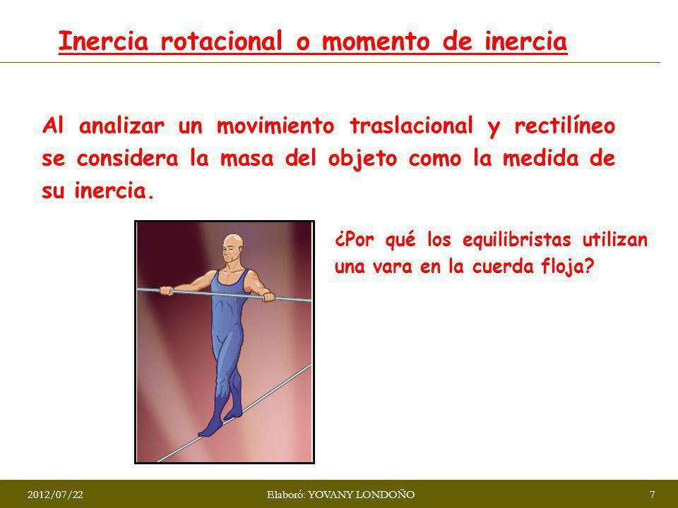 Inercia rotacional o momento de inercia Al analizar un movimiento traslacional y rectilíneo se considera la masa del objeto como la medida de su inerc
