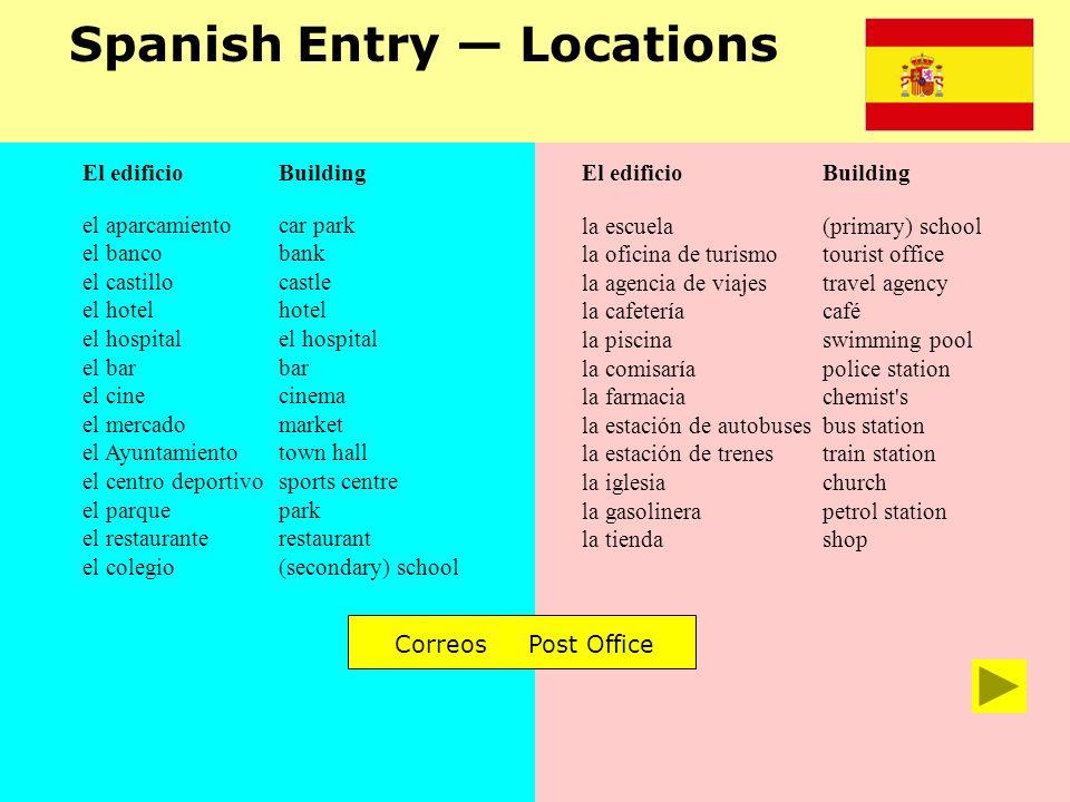 Spanish Entry Locations el aparcamiento el banco el castillo el hotel el hospital el bar el cine el mercado el Ayuntamiento el centro deportivo el par