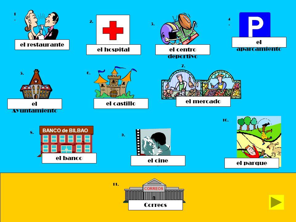 BANCO de BILBAO CORREOS 1.1. 3. 2. 4.4. 6. 5. 8. 7. 11. 10. 9. el restaurante el hospitalel centro deportivo el aparcamiento el Ayuntamiento el castil
