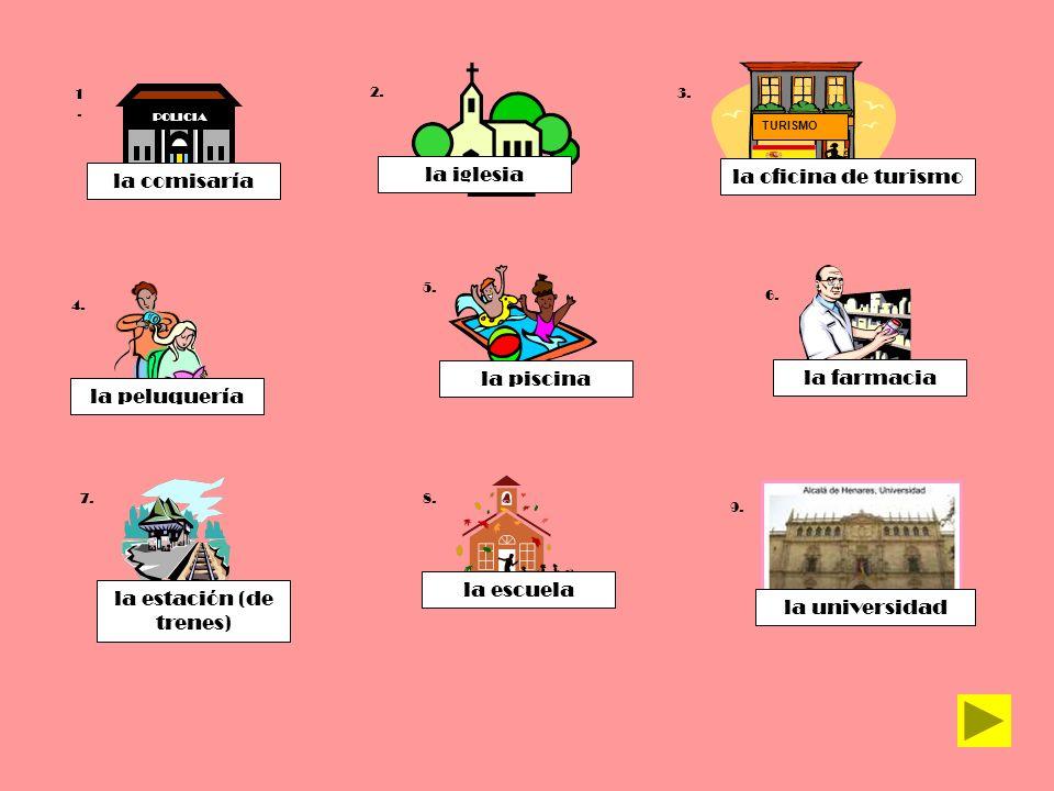 TURISMO POLICIA 1.1. 2. 7. 6. 5. 4. 3. 8. la comisaría la piscina la iglesia la farmacia la estación (de trenes) la escuela la peluquería la universid