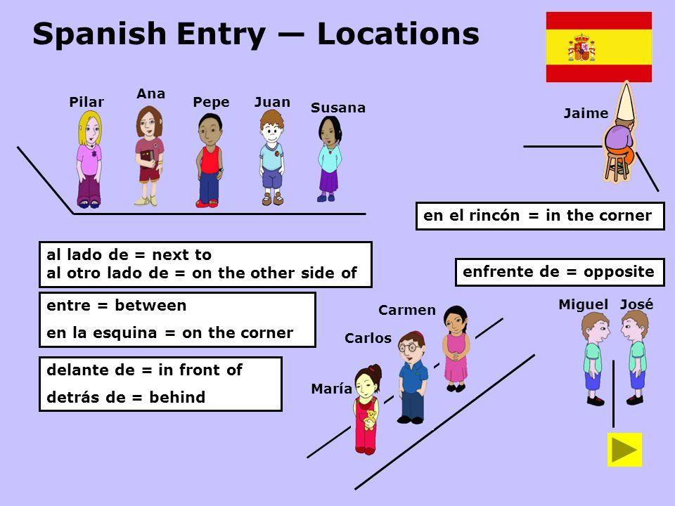 Spanish Entry Locations Ana PepeJuan Susana al lado de = next to al otro lado de = on the other side of entre = between en la esquina = on the corner