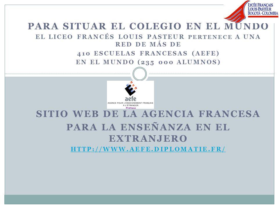 En América Latina Desde enero de 2005, el Liceo francés Louis Pasteur tiene la responsabilidad de la formación de los docentes de la red de los 18 colegios franceses de América central Andina y Caribe, en relación con lAcadémie de Poitiers en Francia (Futuroscope, Sciences Po…)