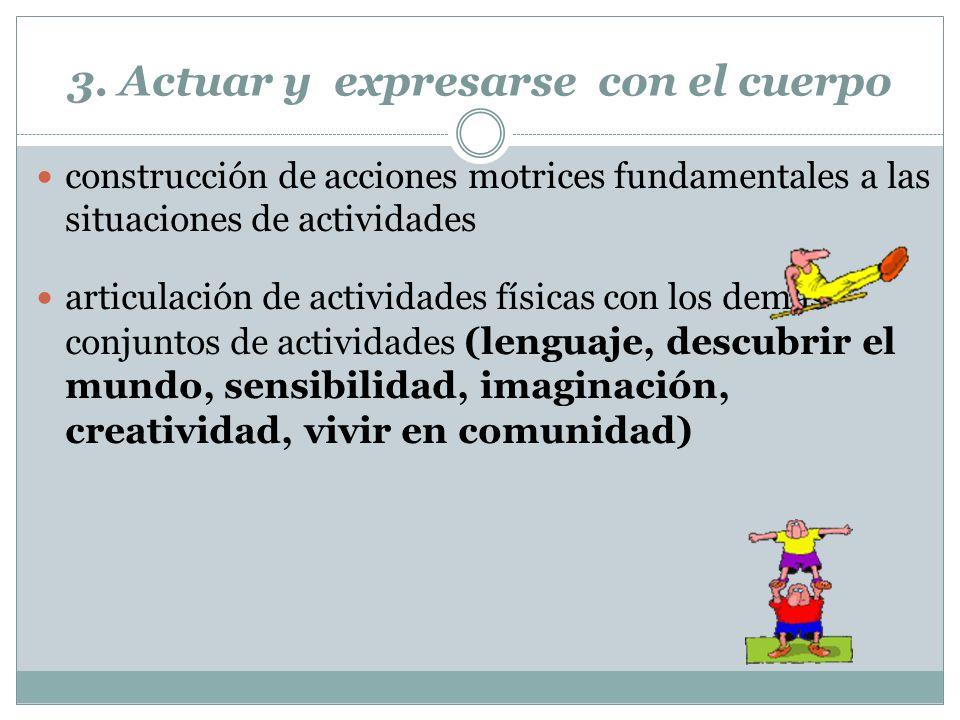 3. Actuar y expresarse con el cuerpo construcción de acciones motrices fundamentales a las situaciones de actividades articulación de actividades físi