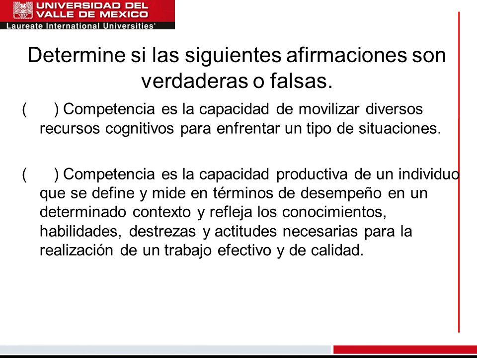 Determine si las siguientes afirmaciones son verdaderas o falsas. ( ) Competencia es la capacidad de movilizar diversos recursos cognitivos para enfre