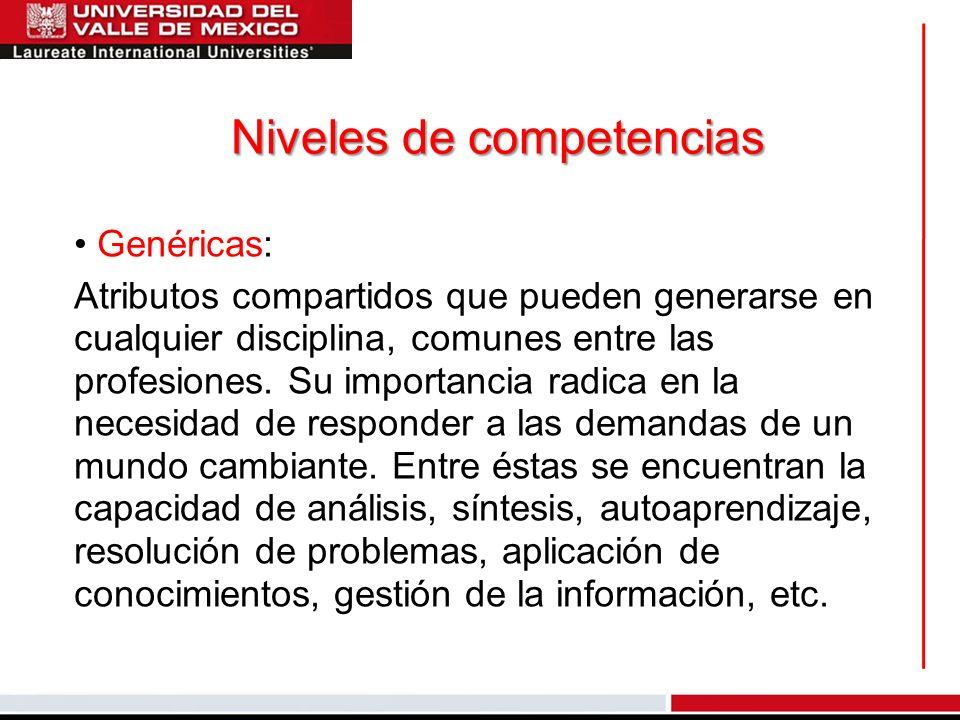 Niveles de competencias Genéricas: Atributos compartidos que pueden generarse en cualquier disciplina, comunes entre las profesiones. Su importancia r