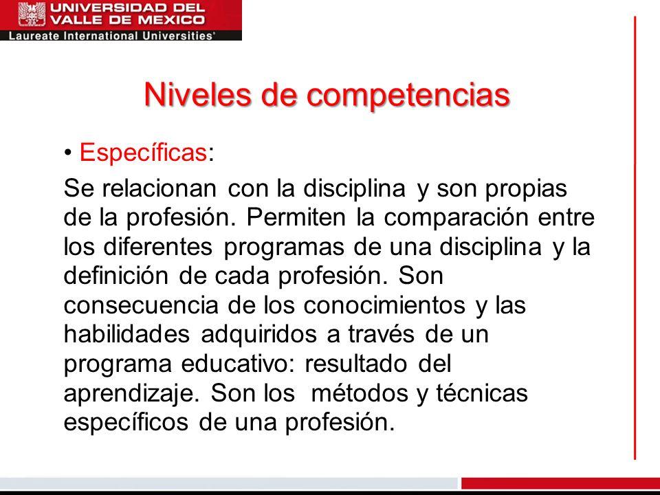 Niveles de competencias Específicas: Se relacionan con la disciplina y son propias de la profesión. Permiten la comparación entre los diferentes progr