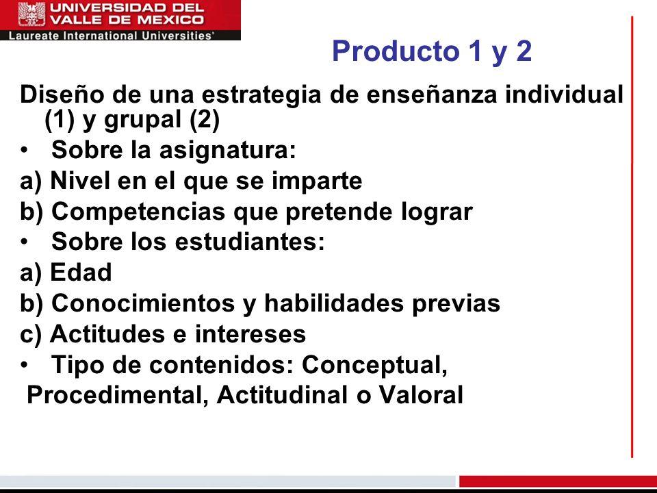 Producto 1 y 2 Diseño de una estrategia de enseñanza individual (1) y grupal (2) Sobre la asignatura: a) Nivel en el que se imparte b) Competencias qu