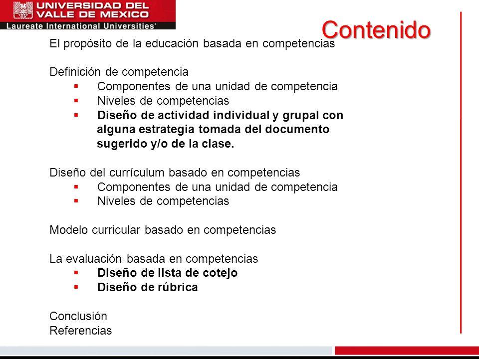 Contenido El propósito de la educación basada en competencias Definición de competencia Componentes de una unidad de competencia Niveles de competenci