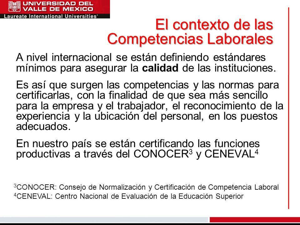 El contexto de las Competencias Laborales A nivel internacional se están definiendo estándares mínimos para asegurar la calidad de las instituciones.