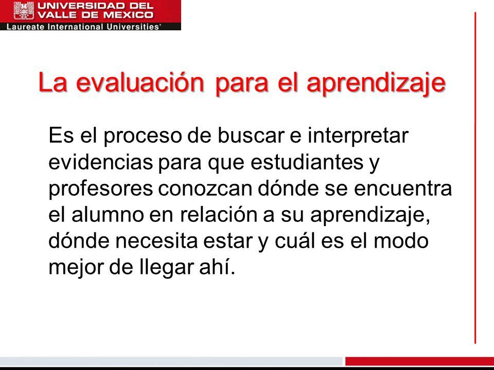 La evaluación para el aprendizaje Es el proceso de buscar e interpretar evidencias para que estudiantes y profesores conozcan dónde se encuentra el al