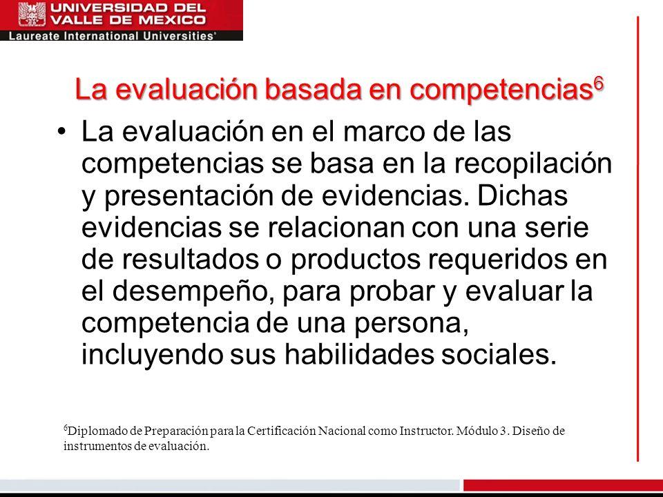 La evaluación basada en competencias 6 La evaluación en el marco de las competencias se basa en la recopilación y presentación de evidencias. Dichas e