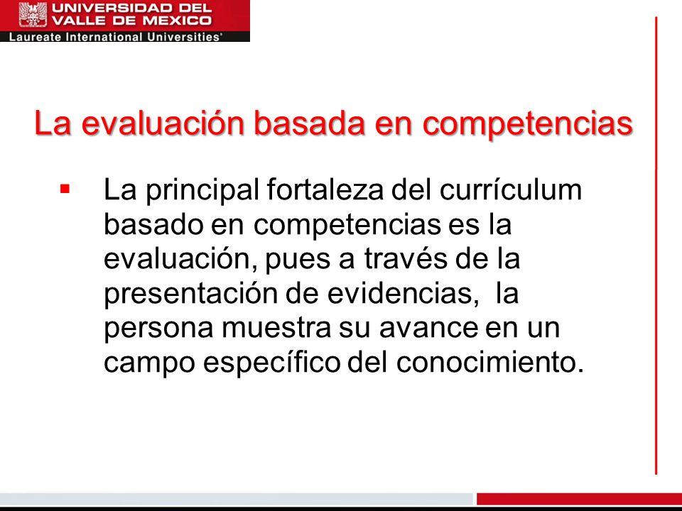 La evaluación basada en competencias La principal fortaleza del currículum basado en competencias es la evaluación, pues a través de la presentación d