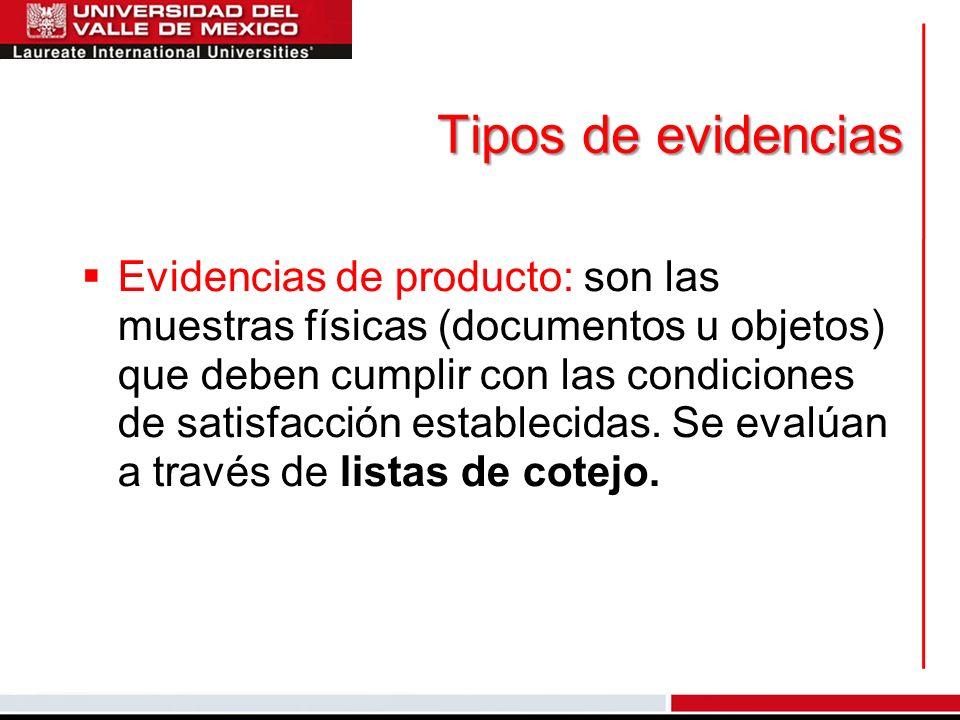 Tipos de evidencias Evidencias de producto: son las muestras físicas (documentos u objetos) que deben cumplir con las condiciones de satisfacción esta