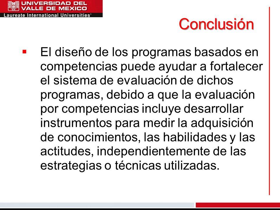 Conclusión El diseño de los programas basados en competencias puede ayudar a fortalecer el sistema de evaluación de dichos programas, debido a que la