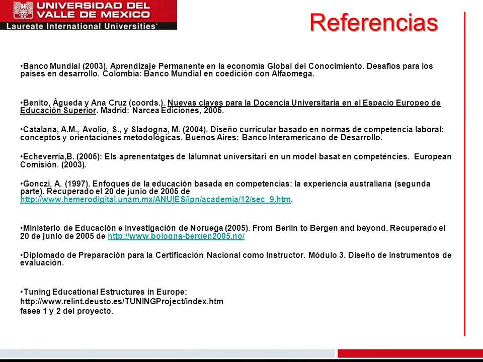 Referencias Banco Mundial (2003). Aprendizaje Permanente en la economía Global del Conocimiento. Desafíos para los países en desarrollo. Colombia: Ban