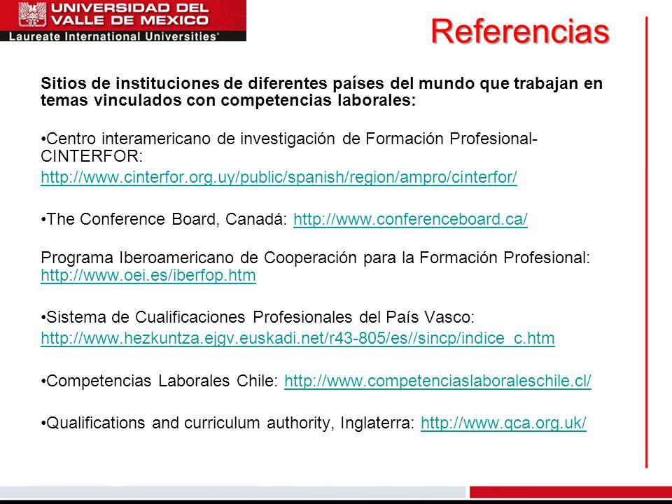 Referencias Sitios de instituciones de diferentes países del mundo que trabajan en temas vinculados con competencias laborales: Centro interamericano