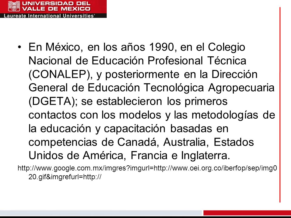 En México, en los años 1990, en el Colegio Nacional de Educación Profesional Técnica (CONALEP), y posteriormente en la Dirección General de Educación