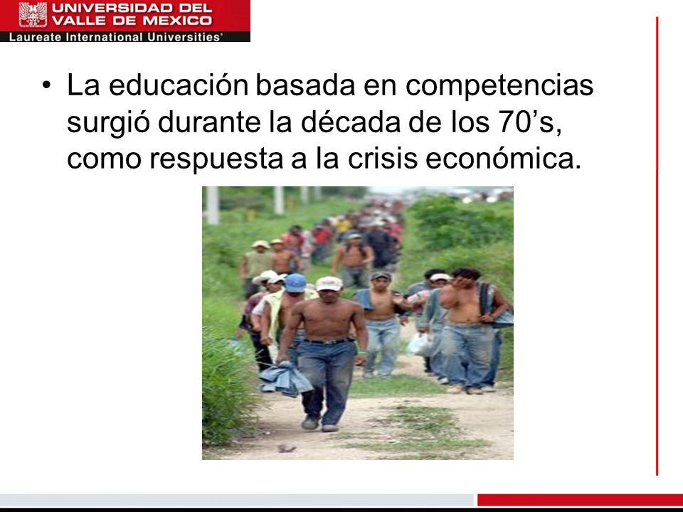 La educación basada en competencias surgió durante la década de los 70s, como respuesta a la crisis económica.