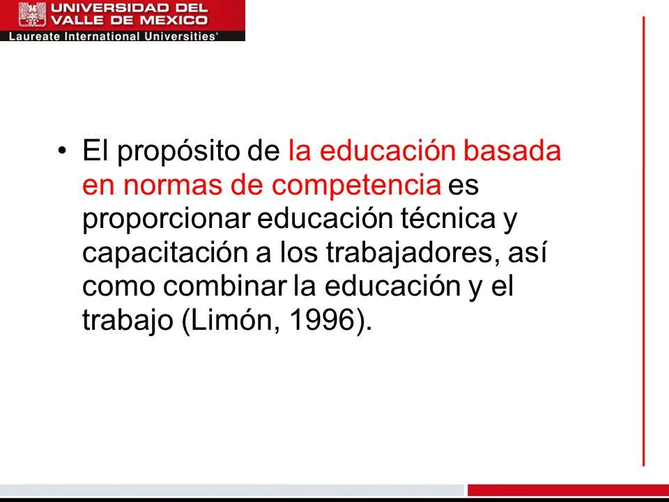 El propósito de la educación basada en normas de competencia es proporcionar educación técnica y capacitación a los trabajadores, así como combinar la