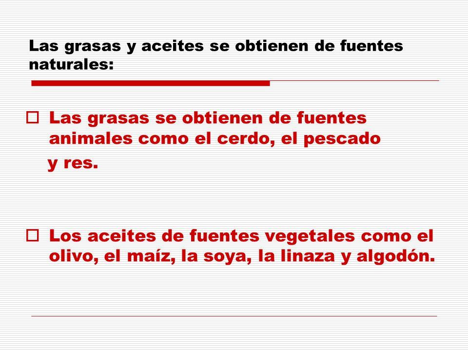 Las grasas y aceites se obtienen de fuentes naturales: Las grasas se obtienen de fuentes animales como el cerdo, el pescado y res. Los aceites de fuen