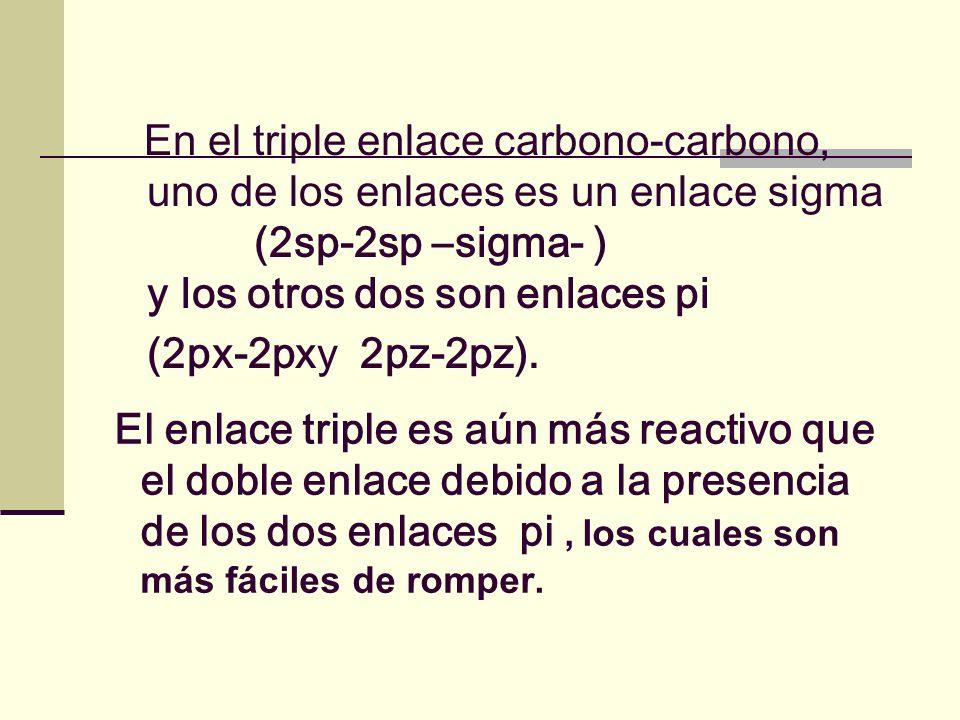 En el triple enlace carbono-carbono, uno de los enlaces es un enlace sigma (2sp-2sp –sigma- ) y los otros dos son enlaces pi (2px-2pxy 2pz-2pz). El en