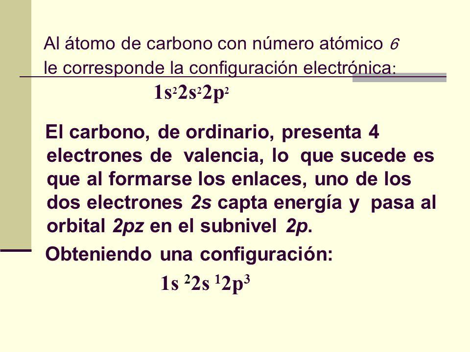 Al átomo de carbono con número atómico 6 le corresponde la configuración electrónica : 1s 2 2s 2 2p 2 El carbono, de ordinario, presenta 4 electrones