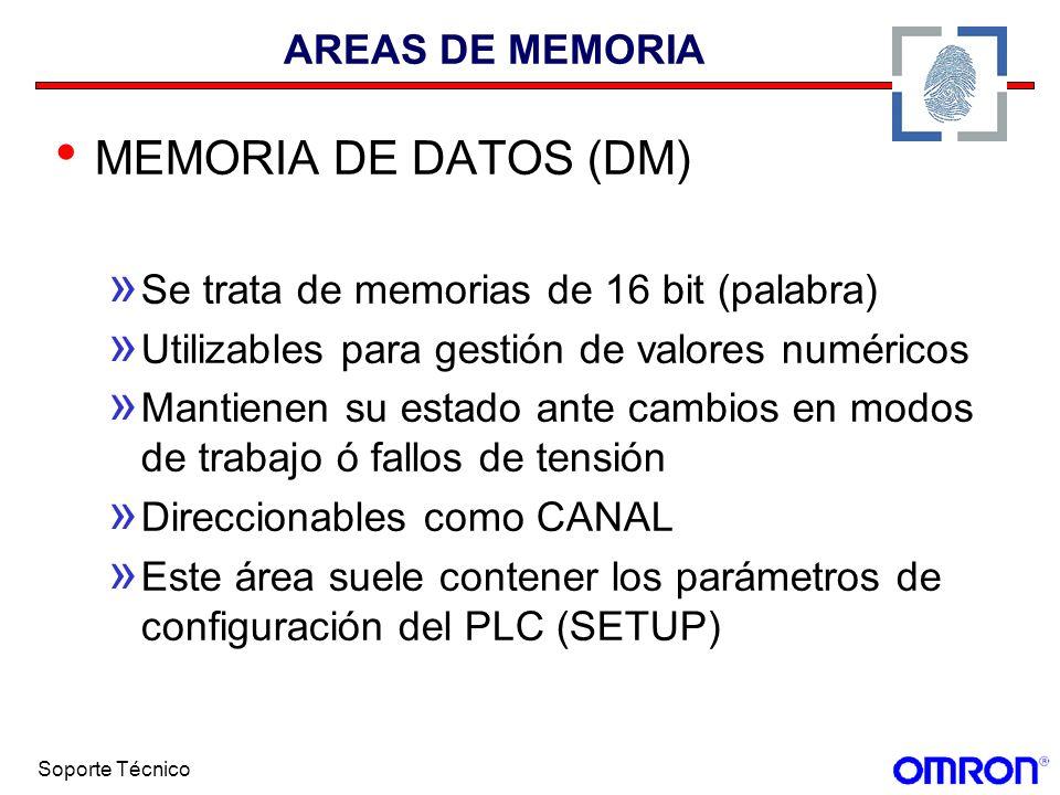 Soporte Técnico AREAS DE MEMORIA MEMORIA DE DATOS (DM) » Se trata de memorias de 16 bit (palabra) » Utilizables para gestión de valores numéricos » Ma