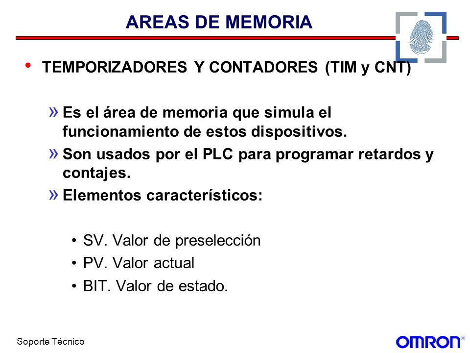 Soporte Técnico AREAS DE MEMORIA TEMPORIZADORES Y CONTADORES (TIM y CNT) » Es el área de memoria que simula el funcionamiento de estos dispositivos. »