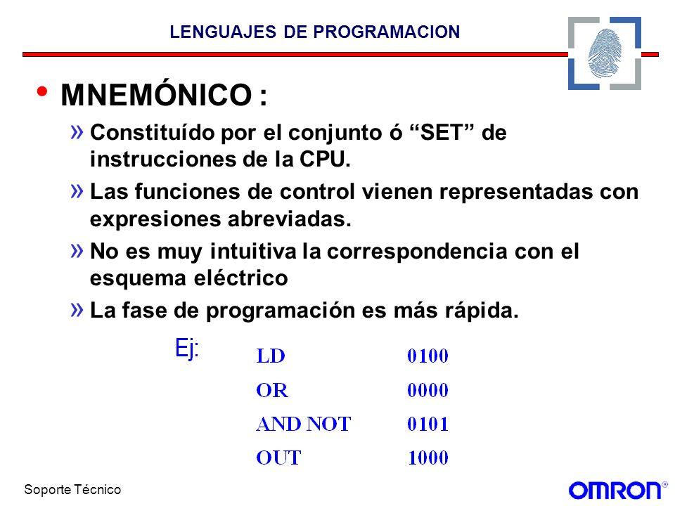 Soporte Técnico LENGUAJES DE PROGRAMACION MNEMÓNICO : » Constituído por el conjunto ó SET de instrucciones de la CPU. » Las funciones de control viene
