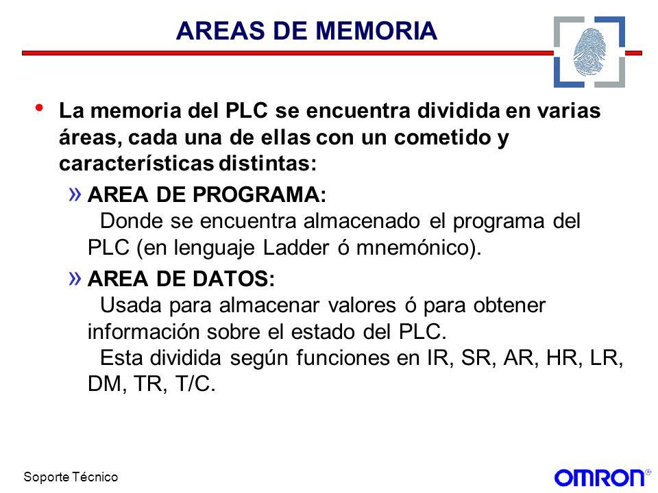 Soporte Técnico AREAS DE MEMORIA La memoria del PLC se encuentra dividida en varias áreas, cada una de ellas con un cometido y características distint