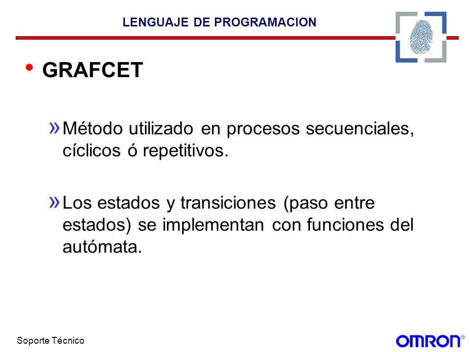 Soporte Técnico LENGUAJE DE PROGRAMACION GRAFCET » Método utilizado en procesos secuenciales, cíclicos ó repetitivos. » Los estados y transiciones (pa
