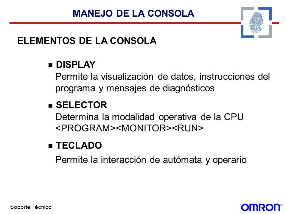Soporte Técnico MANEJO DE LA CONSOLA ELEMENTOS DE LA CONSOLA DISPLAY Permite la visualización de datos, instrucciones del programa y mensajes de diagn