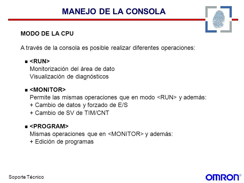 Soporte Técnico MANEJO DE LA CONSOLA MODO DE LA CPU A través de la consola es posible realizar diferentes operaciones: Monitorización del área de dato
