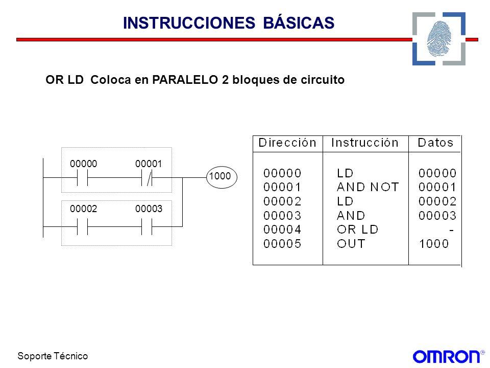 Soporte Técnico INSTRUCCIONES BÁSICAS OR LD Coloca en PARALELO 2 bloques de circuito 0000000001 0000200003 1000