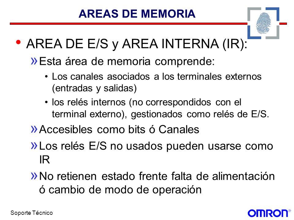 Soporte Técnico AREAS DE MEMORIA AREA DE E/S y AREA INTERNA (IR): » Esta área de memoria comprende: Los canales asociados a los terminales externos (e