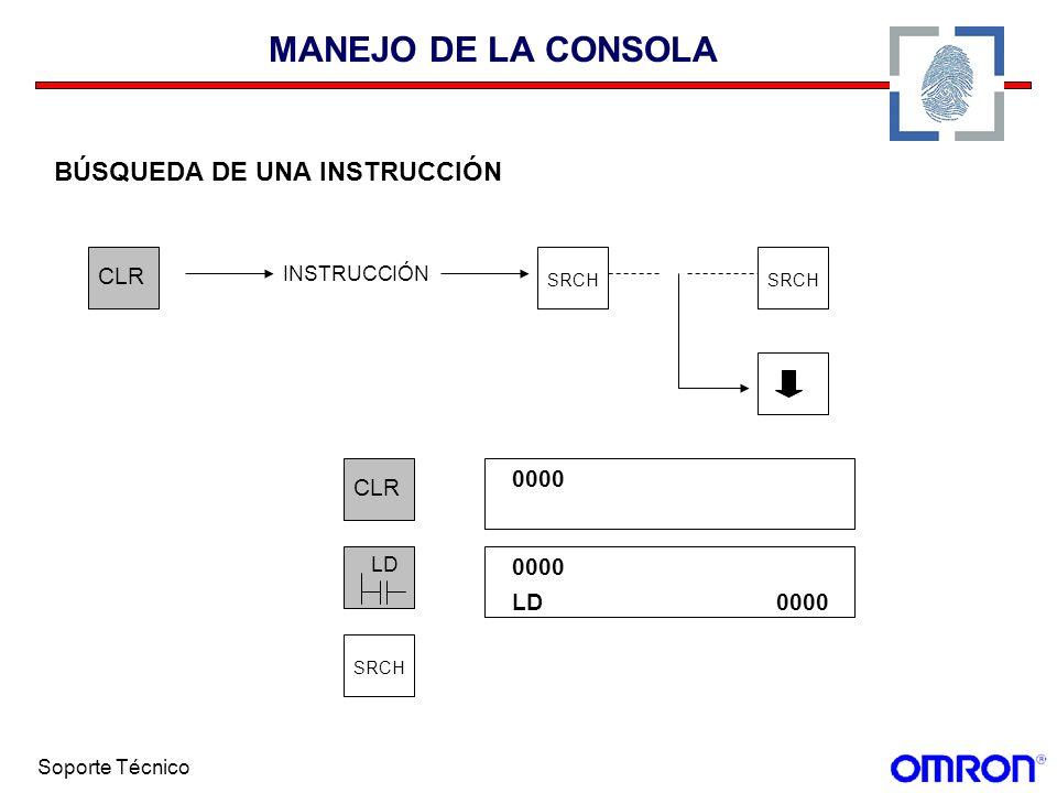 Soporte Técnico MANEJO DE LA CONSOLA BÚSQUEDA DE UNA INSTRUCCIÓN CLR SRCH CLR 0000 LD SRCH 0000 LD0000 INSTRUCCIÓN