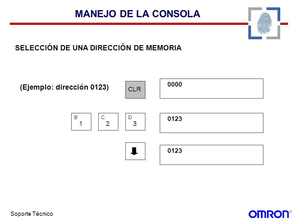Soporte Técnico MANEJO DE LA CONSOLA SELECCIÓN DE UNA DIRECCIÓN DE MEMORIA (Ejemplo: dirección 0123) CLR 0000 1 B 2 C 3 D 0123