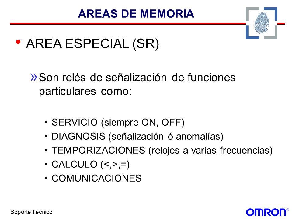 Soporte Técnico AREAS DE MEMORIA AREA ESPECIAL (SR) » Son relés de señalización de funciones particulares como: SERVICIO (siempre ON, OFF) DIAGNOSIS (