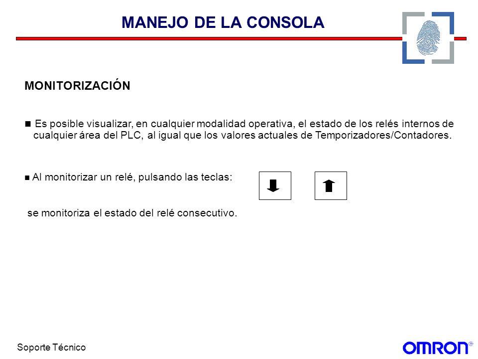 Soporte Técnico MANEJO DE LA CONSOLA MONITORIZACIÓN Es posible visualizar, en cualquier modalidad operativa, el estado de los relés internos de cualqu