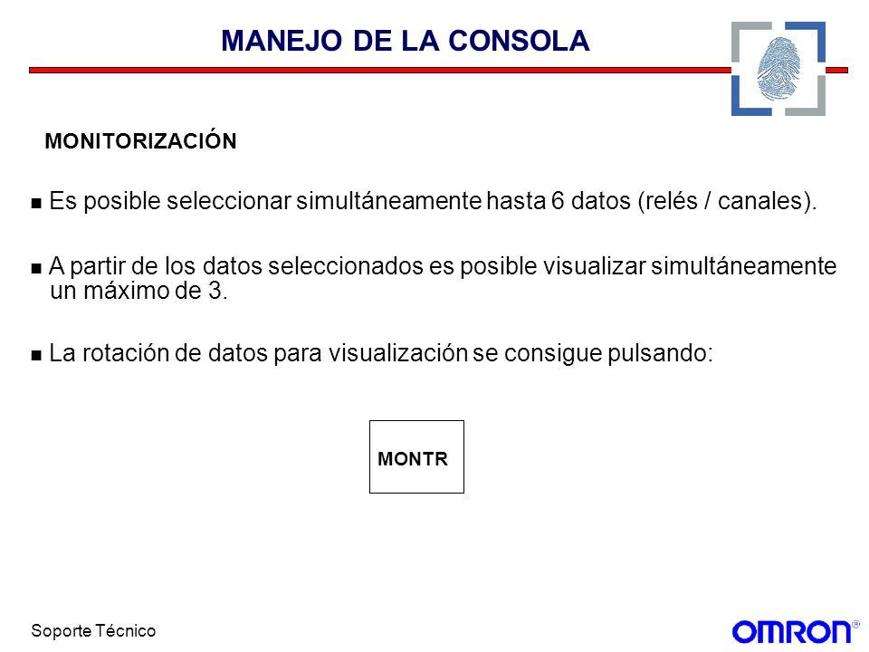 Soporte Técnico MANEJO DE LA CONSOLA MONITORIZACIÓN Es posible seleccionar simultáneamente hasta 6 datos (relés / canales). A partir de los datos sele