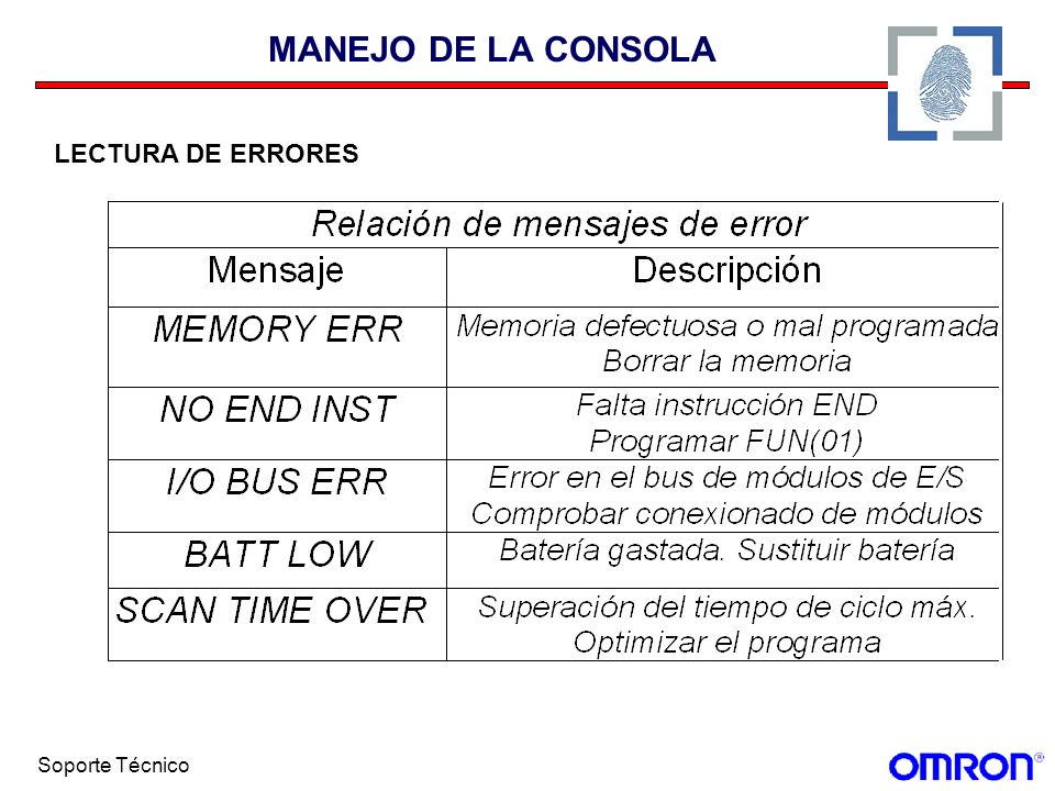 Soporte Técnico MANEJO DE LA CONSOLA LECTURA DE ERRORES
