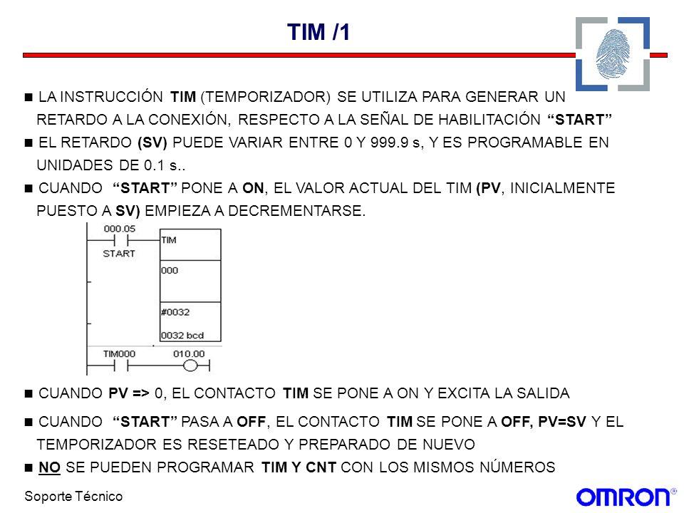 Soporte Técnico TIM /1 LA INSTRUCCIÓN TIM (TEMPORIZADOR) SE UTILIZA PARA GENERAR UN RETARDO A LA CONEXIÓN, RESPECTO A LA SEÑAL DE HABILITACIÓN START E