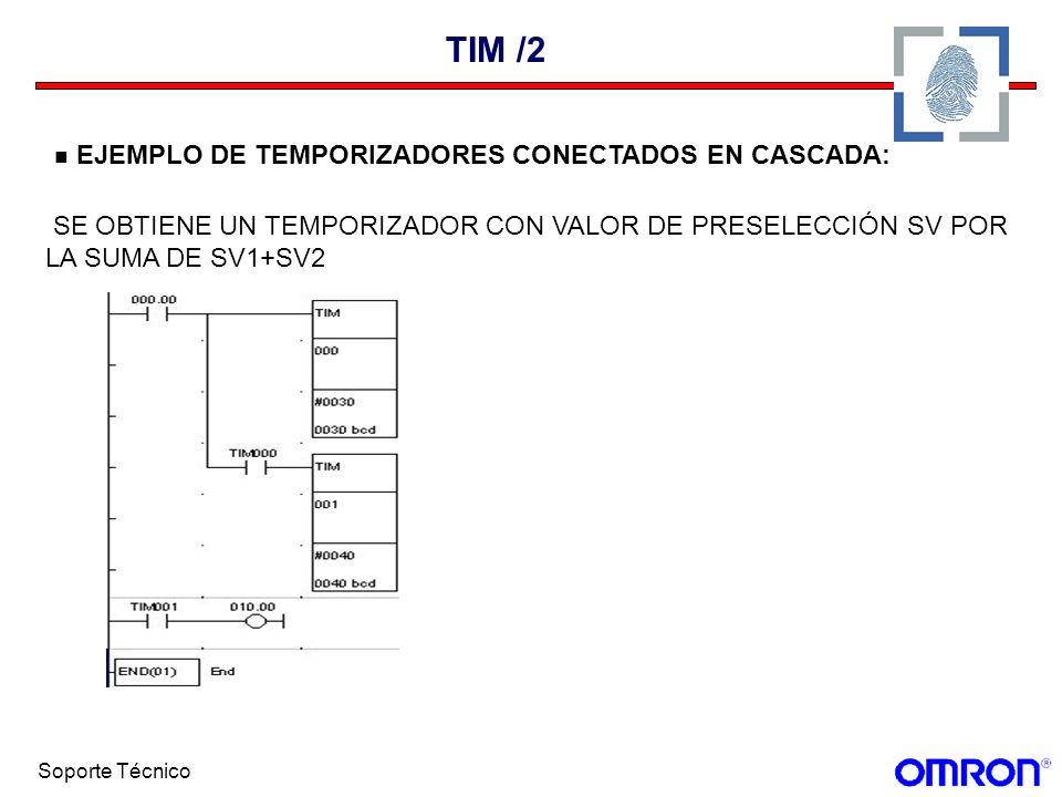 Soporte Técnico TIM /2 EJEMPLO DE TEMPORIZADORES CONECTADOS EN CASCADA: SE OBTIENE UN TEMPORIZADOR CON VALOR DE PRESELECCIÓN SV POR LA SUMA DE SV1+SV2