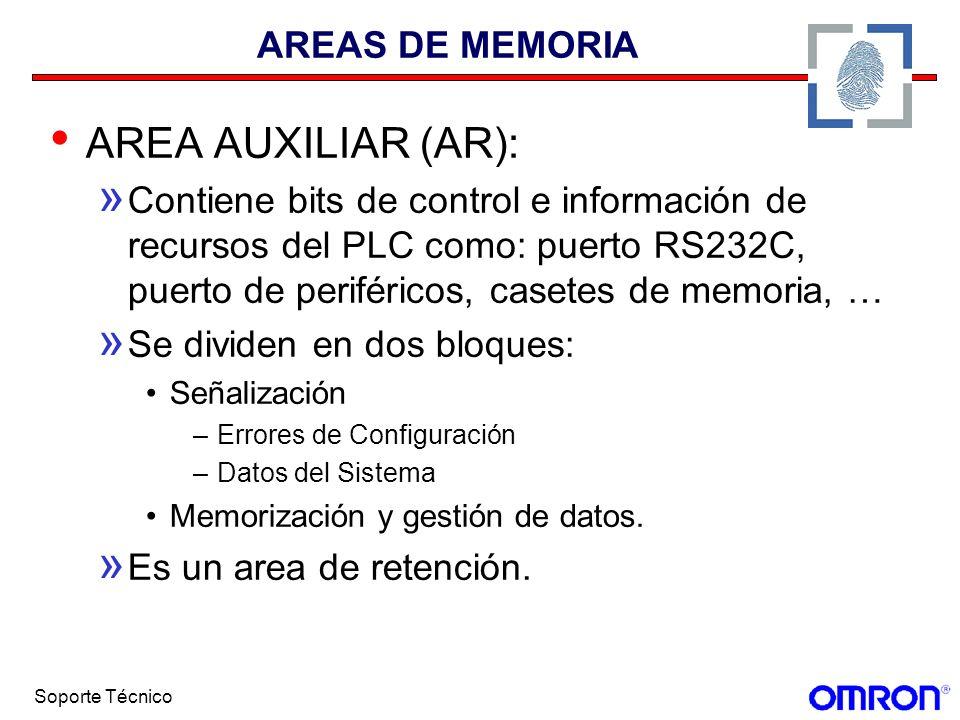 Soporte Técnico AREAS DE MEMORIA AREA AUXILIAR (AR): » Contiene bits de control e información de recursos del PLC como: puerto RS232C, puerto de perif