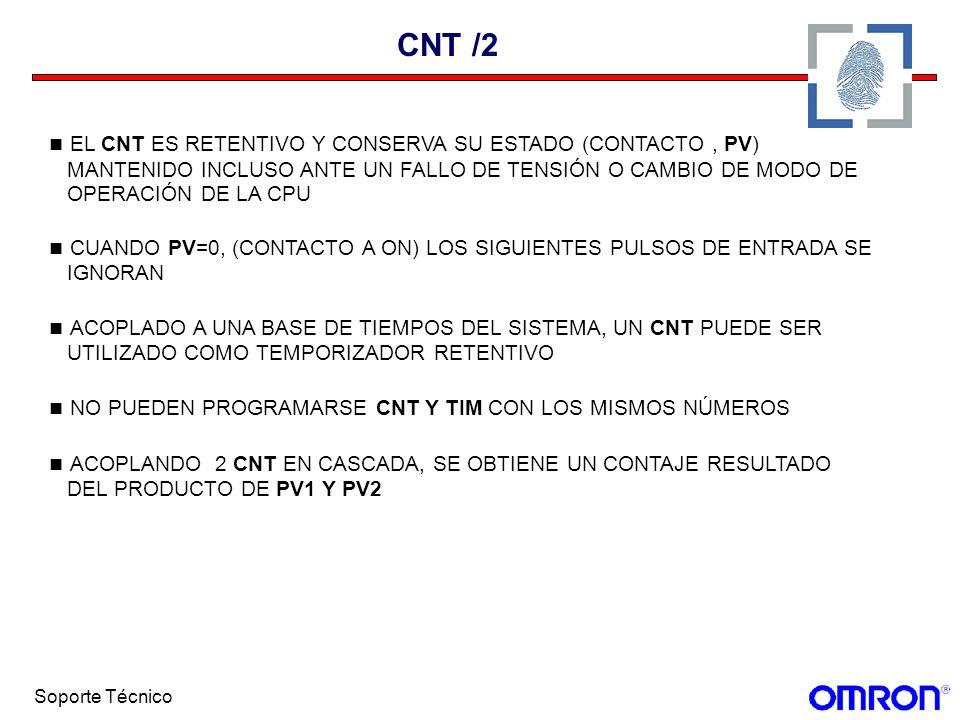 Soporte Técnico CNT /2 EL CNT ES RETENTIVO Y CONSERVA SU ESTADO (CONTACTO, PV) MANTENIDO INCLUSO ANTE UN FALLO DE TENSIÓN O CAMBIO DE MODO DE OPERACIÓ