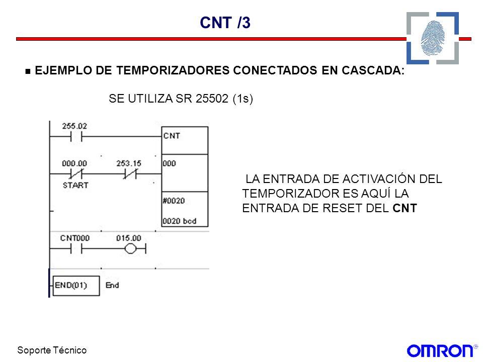 Soporte Técnico CNT /3 EJEMPLO DE TEMPORIZADORES CONECTADOS EN CASCADA: SE UTILIZA SR 25502 (1s) LA ENTRADA DE ACTIVACIÓN DEL TEMPORIZADOR ES AQUÍ LA