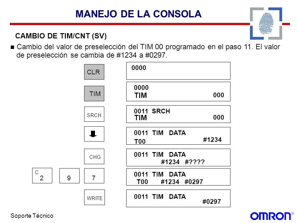 Soporte Técnico MANEJO DE LA CONSOLA CAMBIO DE TIM/CNT (SV) Cambio del valor de preselección del TIM 00 programado en el paso 11. El valor de preselec